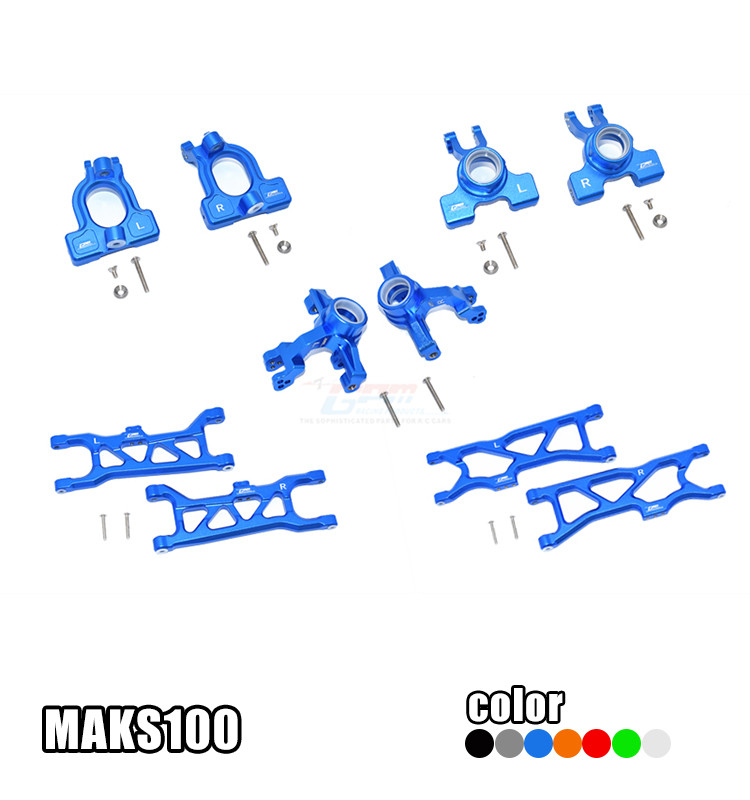 ALUMINUM FRONT C-HUBS, FRONT+REAR KNUCKLE ARMS+FRONT &REAR LOWER ARMS MAKS100 FOR 1/10 ARRMA RC KRATON 4X4 4S BLX ARA102690