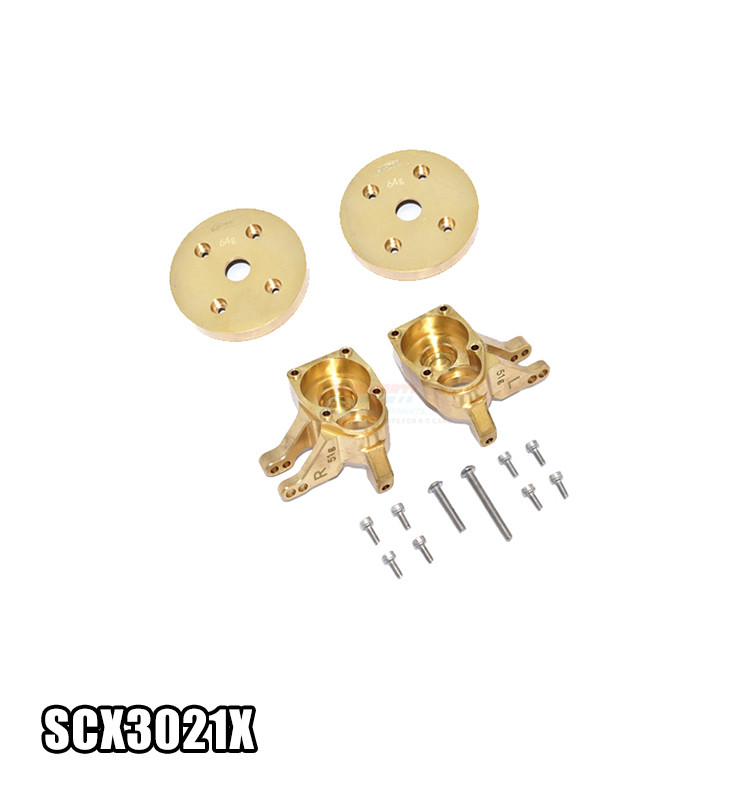 "BRASS FRONT KNUCKLE ARMS ""HEAVY EDITION"" SCX3021X FOR 1/10 AXIAL 4WD SCX10 III JEEP-AXI03007 and AXIAL CAPRA"